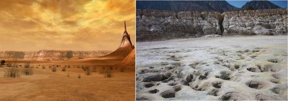 Αριστερά: πεδιάδα με ηφαιστειακά πετρώματα στον Τζιονόσις. Δεξιά: φουμαρόλες στη Νίσυρο.