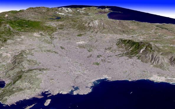Δορυφορική φωτογραφία του λεκανοπεδίου της Αθήνας